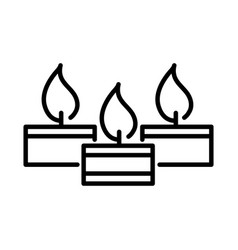 happy diwali india festival burning candles flame vector image