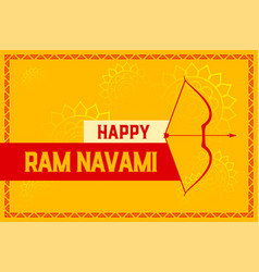 Happy ram navami yellow celebration festival card vector