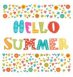 Hello summer card with decorative design elements vector