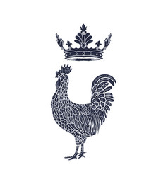 hen or chicken with crown hand drawn with contour vector image