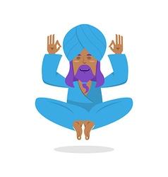 Indian yogi meditates Yogi on white background vector image
