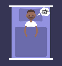 Insomnia conceptual young black man lying in the vector