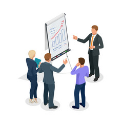 Isometric group of business people looking at the vector