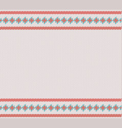 knitted striped pattern on white woolen background vector image