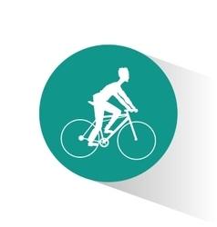 Man riding bike inside circle design vector
