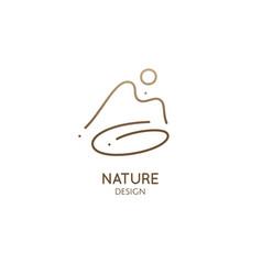 Minimal doodle landscape logo vector