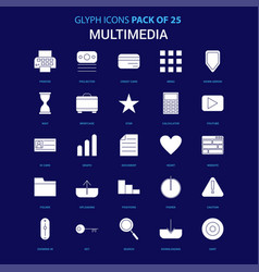 Multimedia white icon over blue background 25 vector