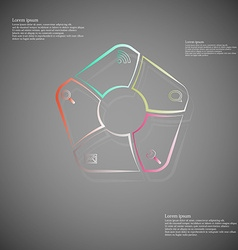 Pentagon infographic consits of lines on dark vector