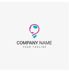people head inside the blub logo vector image