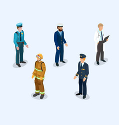 pilot sailor doctor firefighter and policeman vector image
