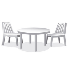Plastic chairs and table vector