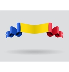 Romanian wavy flag vector image