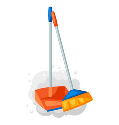 Scoop with broom and dust vector