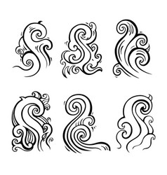 Sea waves set hand drawn design element vector