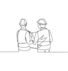 single continuous line drawing young company vector image