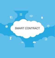 Smart contract infographic cloud design template vector