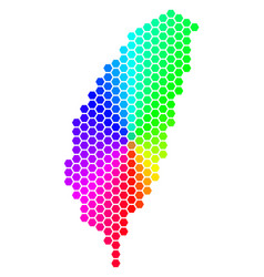 Spectrum hexagon taiwan island map vector