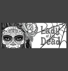 Sugar skull woman vector
