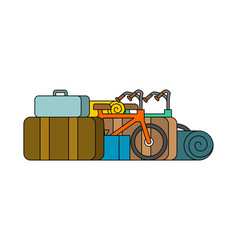 Things for weekend bicycles and suitcases camping vector