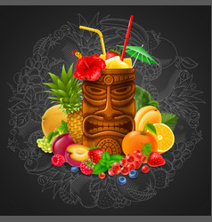 Tiki cocktail with fruits on blackboard background vector