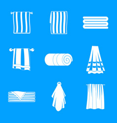 Towel hanging spa bath icons set simple style vector