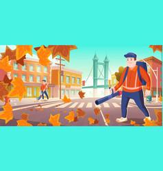 urban sanitary service work janitors clean street vector image