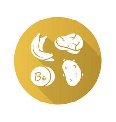 Vitamin b6 yellow flat design long shadow glyph vector