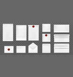 white envelopes with red wax seal vector image