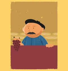 Winemaker holding grape vine poster vector