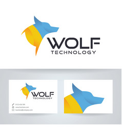 Wolf technology logo design vector