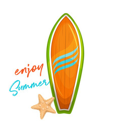 Wood surfboard for summer surfing vector