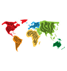 World map divided into six continents name of vector