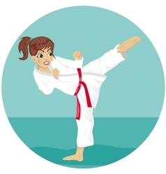 Young teenager red belt karate girl in kimono vector
