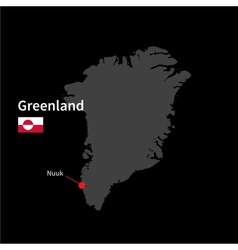Detailed map of Greenland and capital city Nuuk vector image
