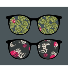 Retro sunglasses with interesting reflection vector image