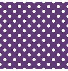 Tile pattern with white polka dots on dark violet vector image vector image