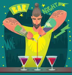 bartender deftly preparing cocktails vector image