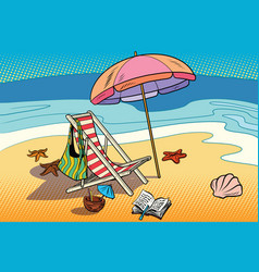 beach lounger and sun umbrella vector image vector image