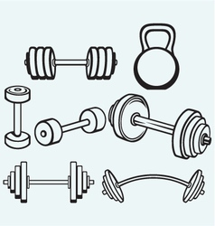Dumbbells icons vector image vector image