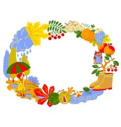 Fall season cartoon wreath vector