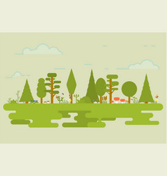 flat nature set vector image vector image