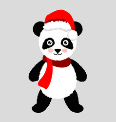 panda christmas hat and scarf for greeting card vector image