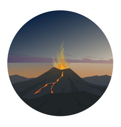 volcano at night round icon vector image vector image