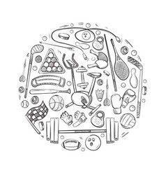 active sports things doodle icons set vector image