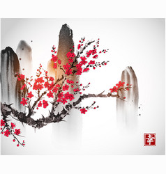cherry sakura tree branch in blossom and mountains vector image