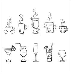 Set of sketchy drinks vector image