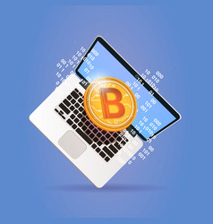 bitcoin over laptop computer digital web money vector image