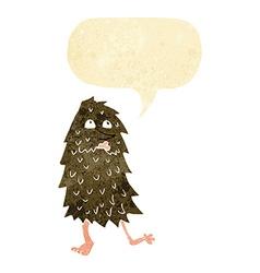 cartoon monster with speech bubble vector image