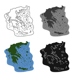 greece territory icon in cartoon style isolated on vector image