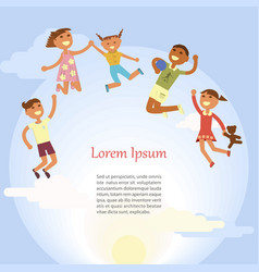 happy children are jumping vector image